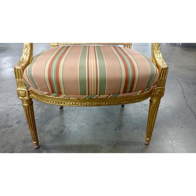 Brown 19th Century French Louis XVI Gilt Wood Fauteuils Chairs-A pair For Sale - Image 8 of 9