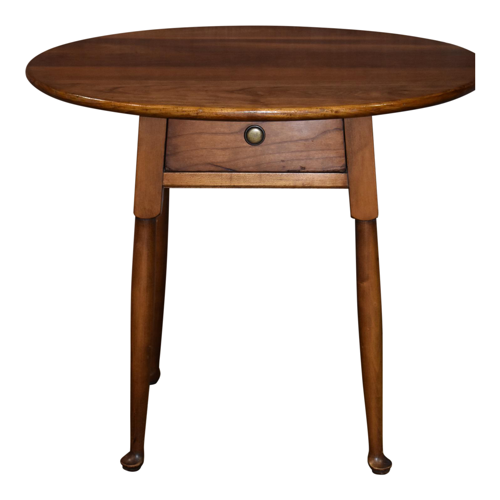 Vintage Leopold Stickley Solid Cherry Oval Side Table With Drawer