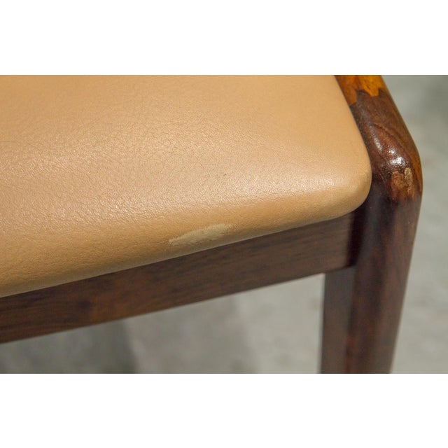 1960s Vintage Danish Modern Rosewood & Leather Dining Chairs- Set of 4 For Sale - Image 12 of 13