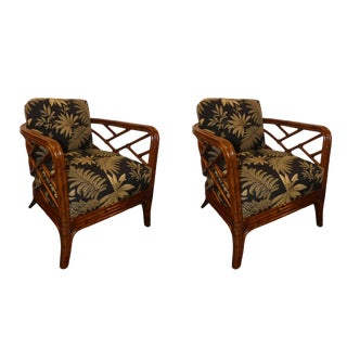 Tommy Bahama Island Estate Palm Lattice Fretwork Club Chairs- a Pair For Sale