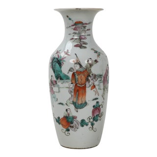 19th Century Chinese Qing Dynasty Porcelain Famille Rose Vase With Scene of Warrior in Orange Robes For Sale