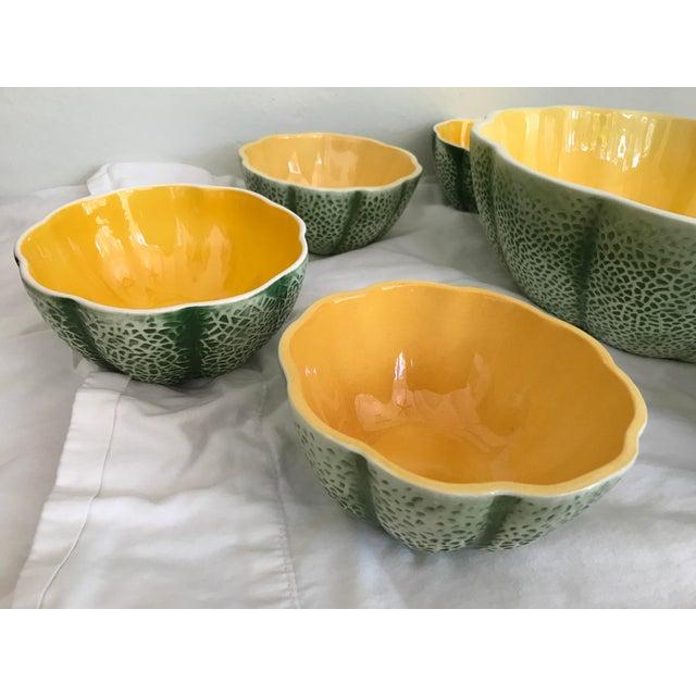 Vintage Knobler Japan Melon Cantaloupe Serving Bowl & 8 Matching Bowls For Sale - Image 4 of 11