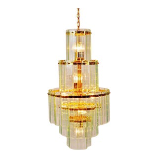 Mid Century 5 Tier Brass and Etched Glass Prism Chandelier For Sale