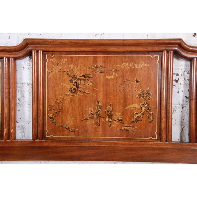 Asian Drexel Heritage Hollywood Regency Chinoiserie King Size Headboard For Sale - Image 3 of 6