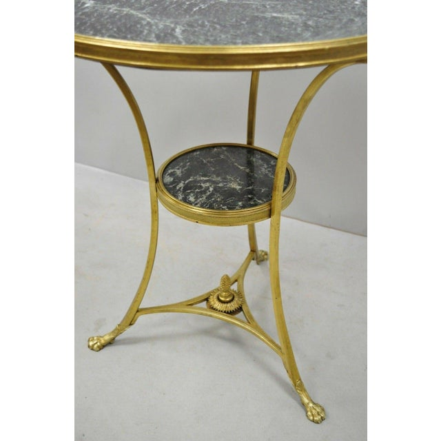 20th Century French Bronze Neoclassical Round Green Marble Top Gueridon Table For Sale - Image 12 of 13