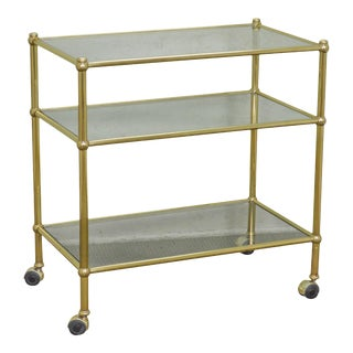 Brass & Glass 3 Tier Rolling Server Etagere Cart For Sale