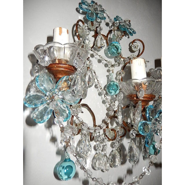 French Maison Baguès Style Aqua Blue Floral Crystal Sconces, circa 1920 For Sale In Los Angeles - Image 6 of 10