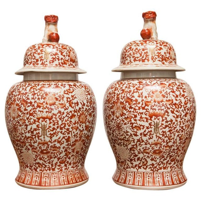 Chinese Large Porcelain Temple Ginger Jars - Pair - Image 1 of 9