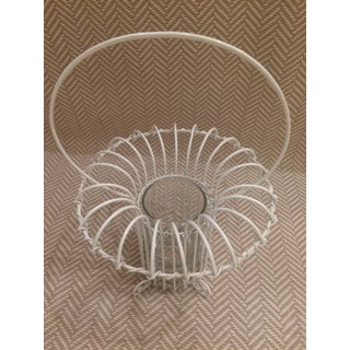 1980s Vintage White Wire Summer Flower Basket Surrounding a Clear Glass Vase Preview