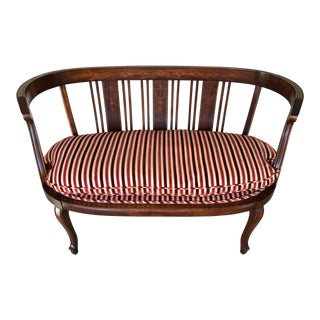 Antique Adams Style Mahogany Inlaid French Settee