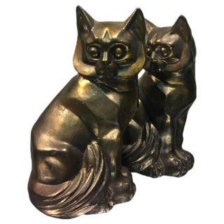Art Deco Cubist Pair of Cat Bookends