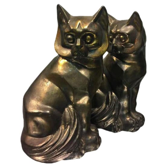 Art Deco Cubist Pair of Cat Bookends For Sale