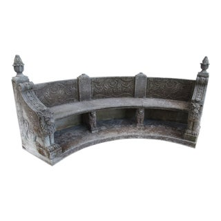 A Semi Circular Carved Limestone Griffins Bench For Sale