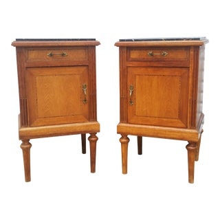 20th Century French Provincial Oak Inlaid Night Stands - a pair For Sale