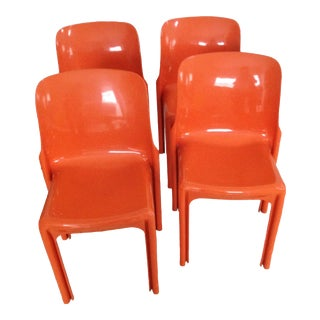 "1960s Vintage Artimede Vico Magistretti ""Selene"" Chairs- Set of 4 For Sale"