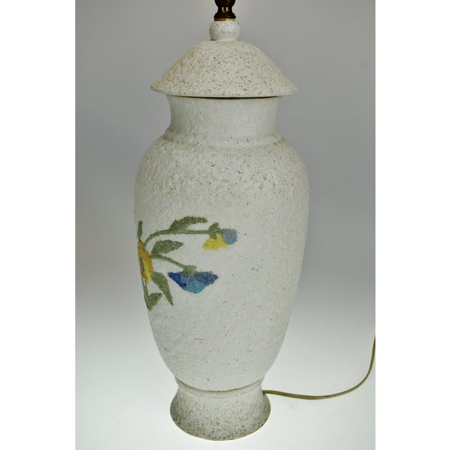 Vintage Large Textured Pottery Table Lamp For Sale In Philadelphia - Image 6 of 13