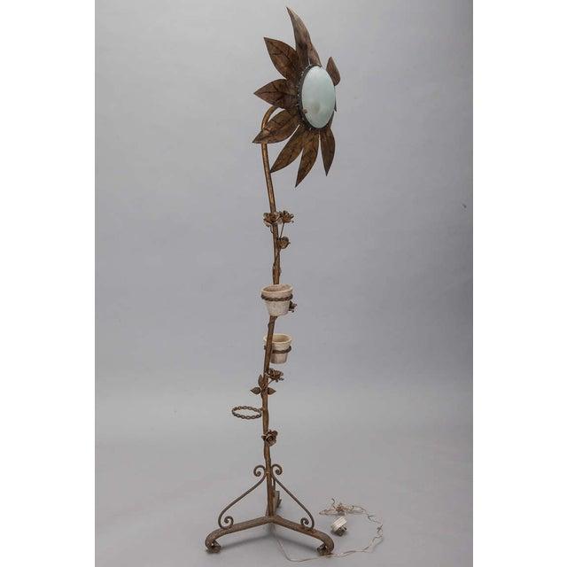 1930's Spanish Gilt Metal Sunflower Floor Lamp - Image 3 of 7