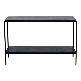 The 'Rectiligne' Ebonized Oak and Iron Side Table For Sale