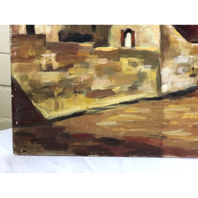 Impressionist Impressionist Oil Painting of a Continental Townscape For Sale - Image 3 of 12