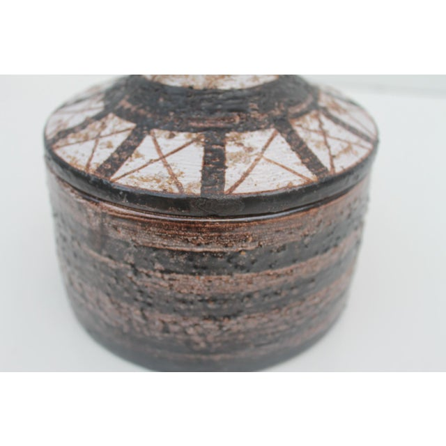 Ceramic Aldo Londi For Bitossi Italian Studio Pottery Decorative Lidded Bowl For Sale - Image 7 of 7