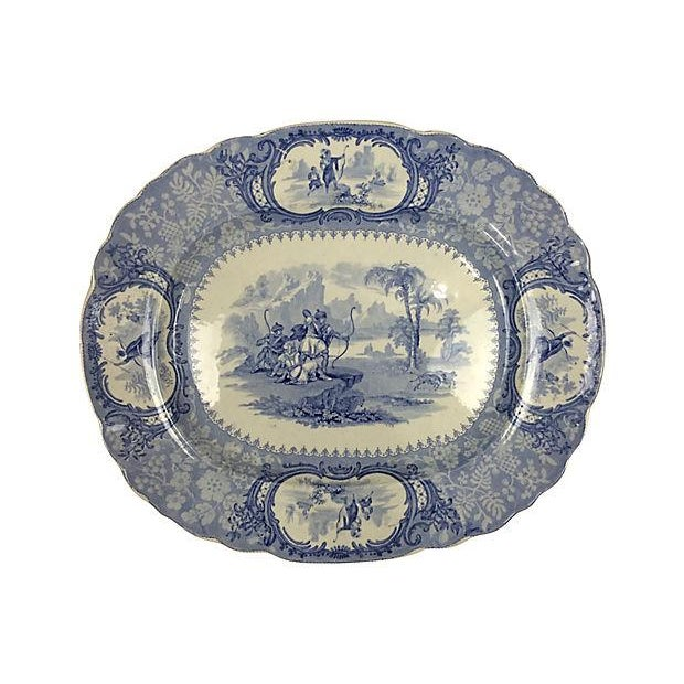 English Blue Transferware Platters - Set of 3 - Image 3 of 5