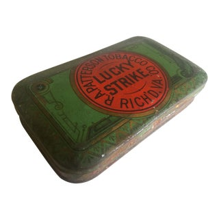 "Vintage Early 1900's ""Lucky Strike R.A. Patterson"" Tobacco Tin Box For Sale"