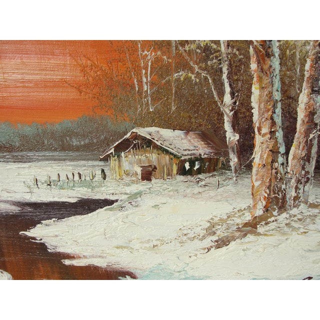 "Traditional Mid-Century ""Winter Sunset"" Oil on Canvas Painting For Sale - Image 3 of 7"