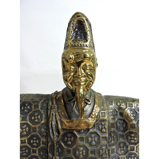 Vintage Japanese Brass 'Noh' Figure/Okimono Statue With Okina Mask For Sale - Image 11 of 13