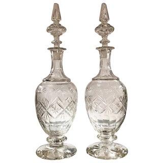 19th Century European Cut Glass Claret Decanters - a Pair For Sale