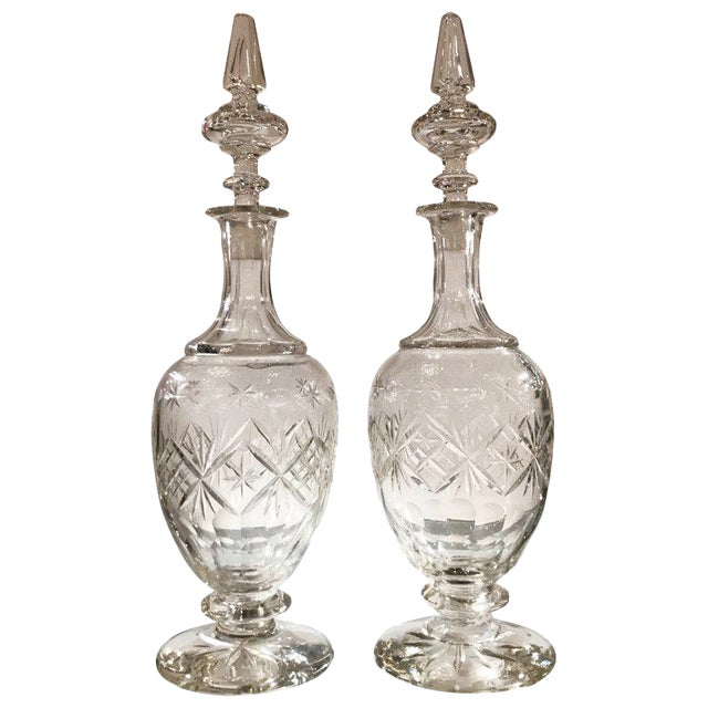 19th Century European Cut Glass Claret Decanters - a Pair For Sale
