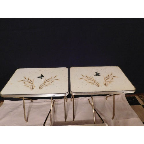 Mid-Century Butterfly/Wheat Design TV Tables - S/3 - Image 3 of 6