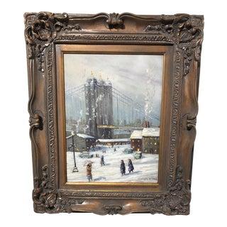 Christopher Willett, Oil on Masonite of the Brooklyn Bridge For Sale