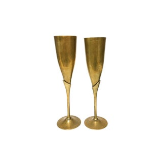 Tall Brass Long Stemmed Champagne Goblets - a Pair For Sale