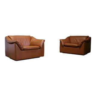 Mid Century Metropolitan Leather Lounge Chairs - a Pair For Sale
