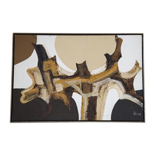 Mid Century Abstract Painting by Walcutta