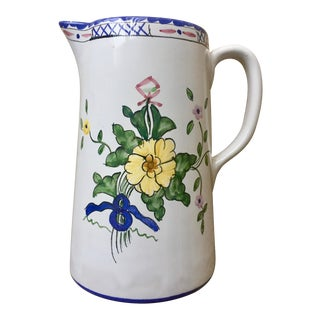 "Tiffany & Co. Hand-Painted Faience Pitcher-""Lisbon"""