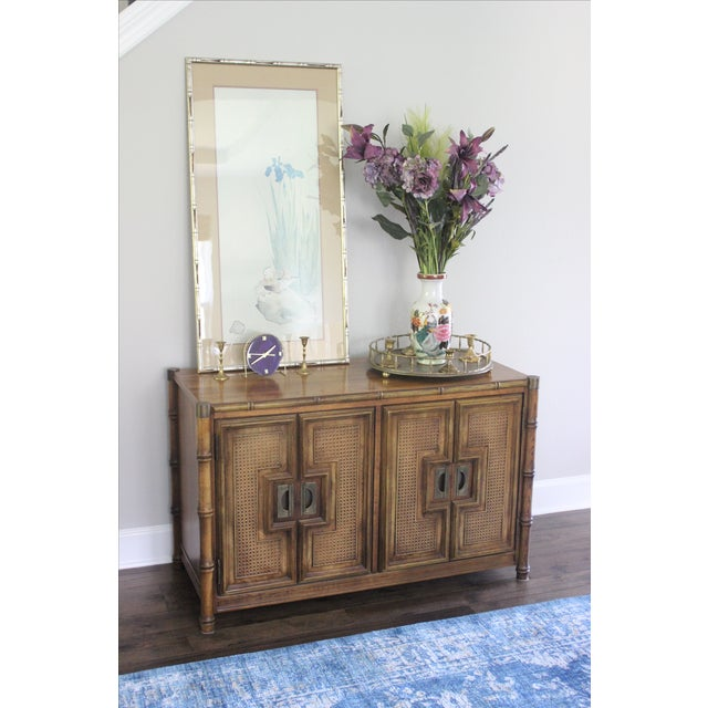 Stanley Mid Century Faux Bamboo Credenza - Image 10 of 11