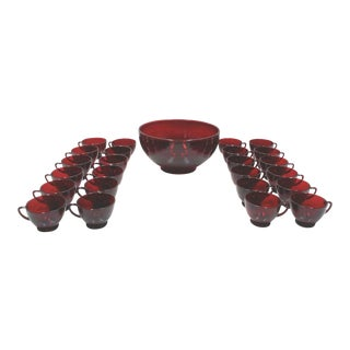 Ruby Glass Punch Bowl & Cups - Set of 25 For Sale