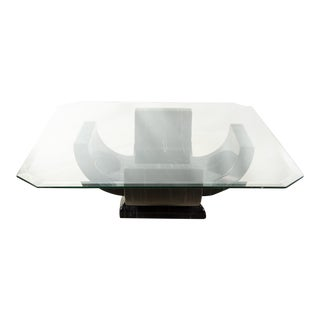 Mid-Century Modern Lacquered Faux Marble With Glass Top Coffee Table