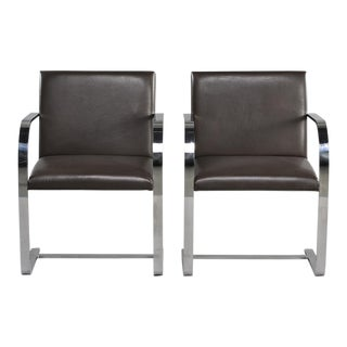 Pair Knoll Bruno Flat Bar Chairs With Leather Upholstery For Sale
