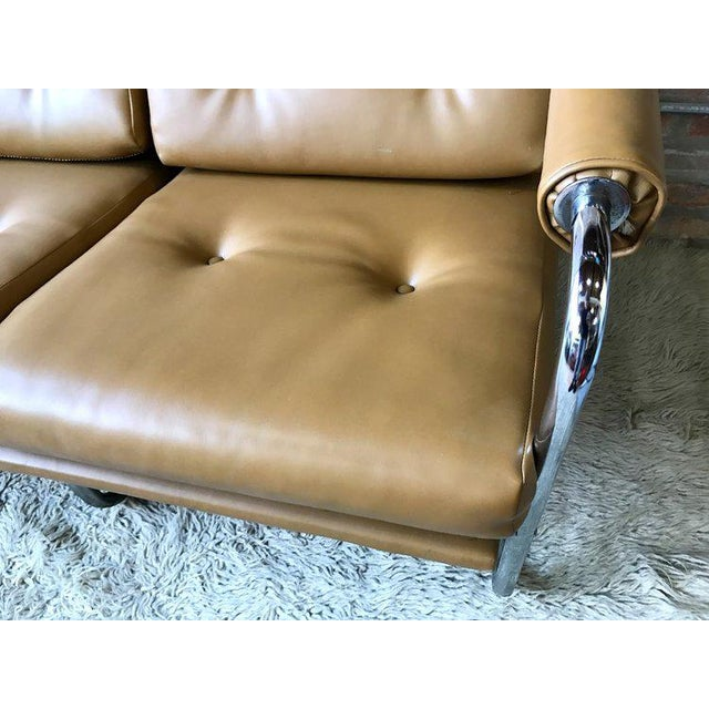 Chrome & Naugahyde Sofa For Sale - Image 4 of 4