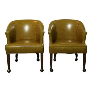 Mid Century Naugahyde Olive Green Rolling Barrel Chairs With Nail Head Accent - a Pair