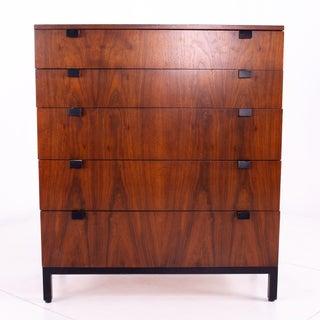 Mid Century Milo Baughman for Directional Walnut 5 Drawer Highboy Dresser Preview