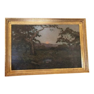 Original Antique British Landscape Painting W Sheep by Charles Chapel Judson For Sale