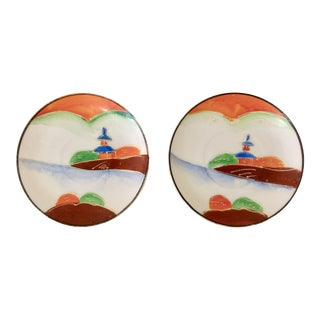 Occupied Japan Hand Painted Small Plates - A Pair For Sale