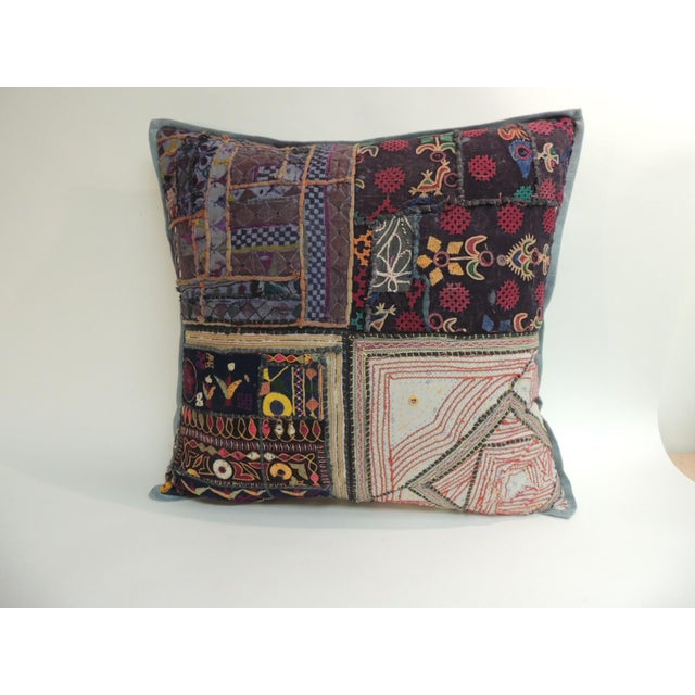 1970s Vintage Large Colorful Indian Floor Decorative Pillow For Sale - Image 5 of 5