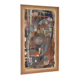 """Jack Wilson """"Abc Time"""" Vintage Geomtric Abstract Oil Painting C.1966"""