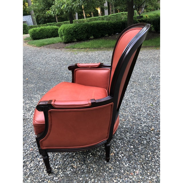 Traditional Persimmon Leather Armchair For Sale In New York - Image 6 of 11