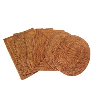 Handmade Indonesian Woven Placemats - Set of 6 For Sale