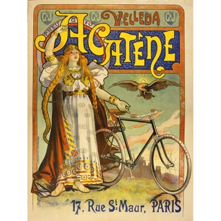 Print of French Bicycle Advertisement From 1800s For Sale